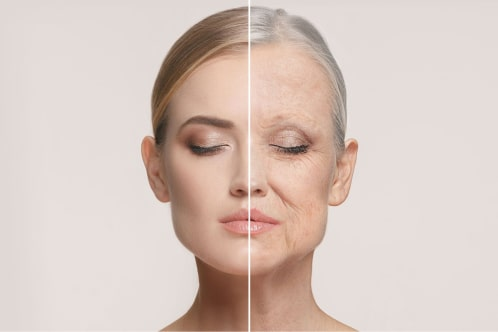 young and old woman anti-aging comparison